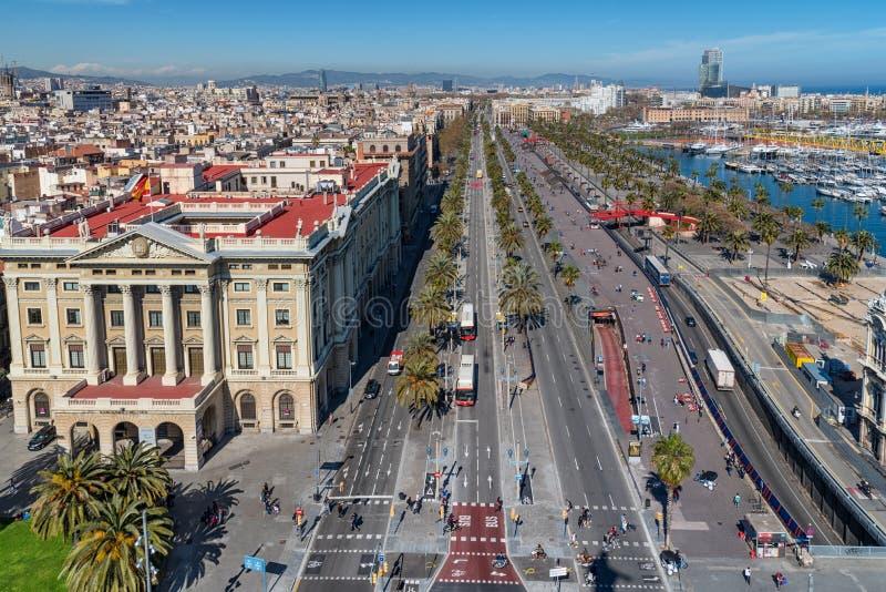 Passeig de Colom in Barcelona, Catalonia, Spain. Skyline. BARCELONA, SPAIN, March 2018: Aerial panoramic view over Passeig de Colom or Columbus avenue, La stock photography