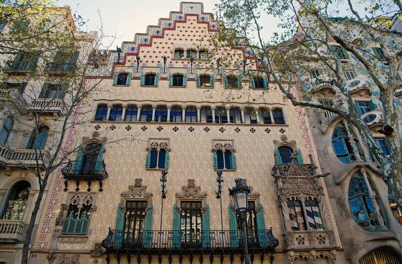 Barcelona, Spain - March 30, 2016: Casa Amatller building facade. Modernist architecture and style. Structure and design stock photo