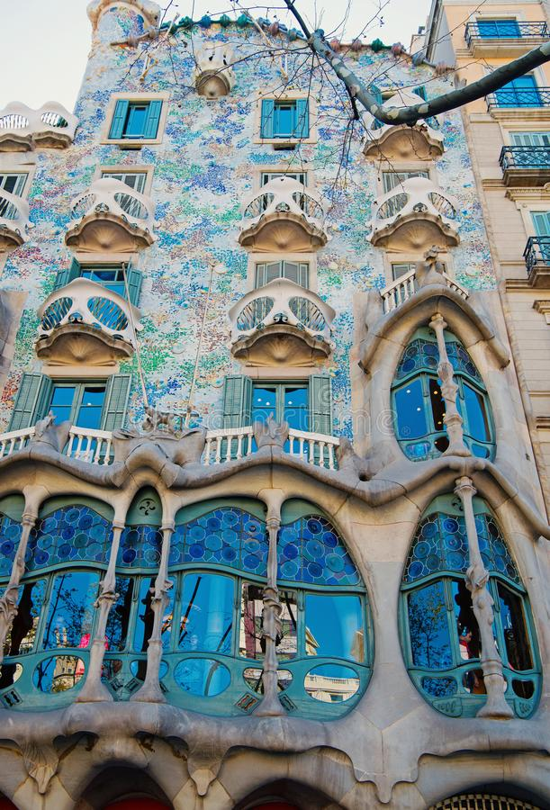Barcelona, Spain - March 30, 2016: Casa Batllo building facade in Barcelona. Gaudi design. Modernist architecture and. Barcelona, Spain - March 30, 2016: Casa royalty free stock photos