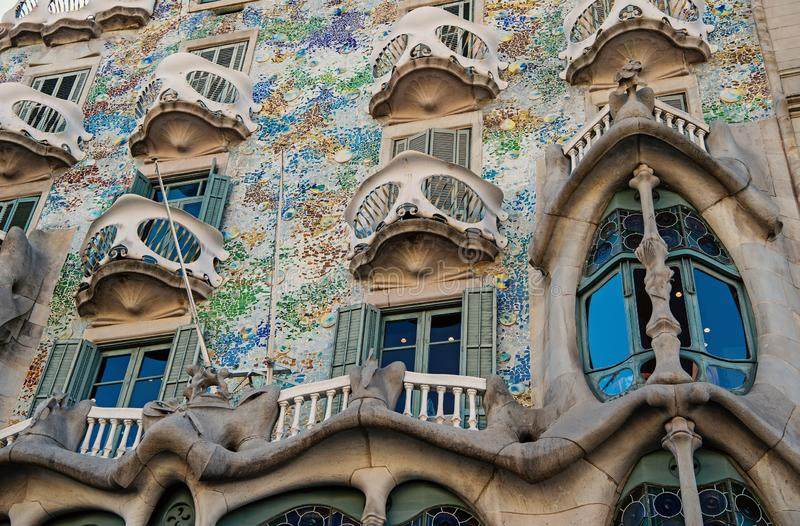 Barcelona, Spain - March 30, 2016: Casa Batllo building facade in Barcelona closeup. Gaudi design. Modernist royalty free stock photo