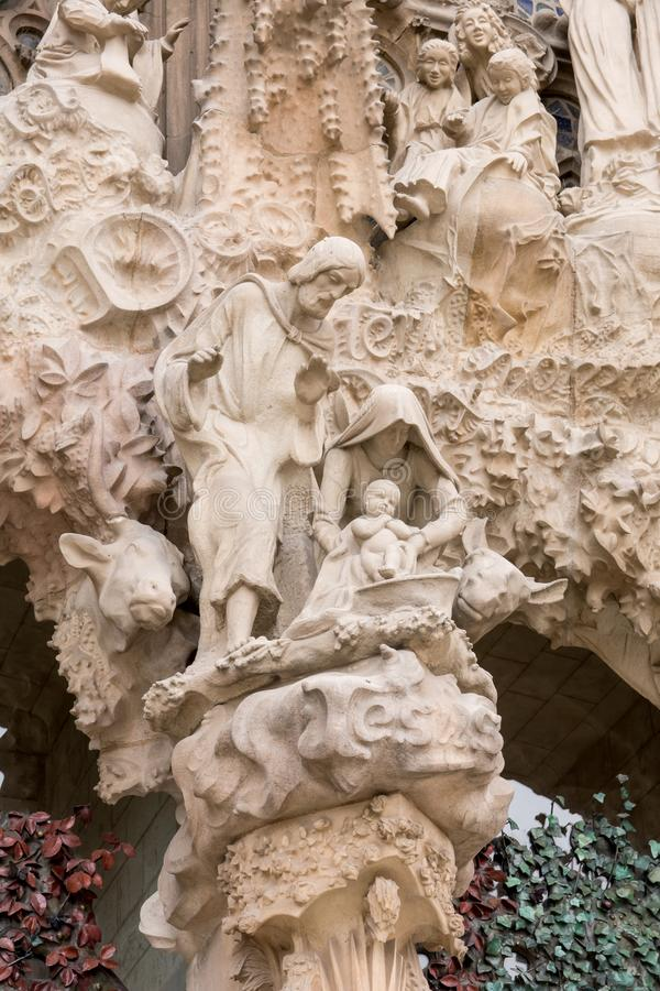 BARCELONA, SPAIN - MARCH 19, 2018: cathedral statue designed by stock images