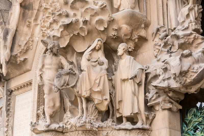 BARCELONA, SPAIN - MARCH 19, 2018: cathedral statue designed by stock image