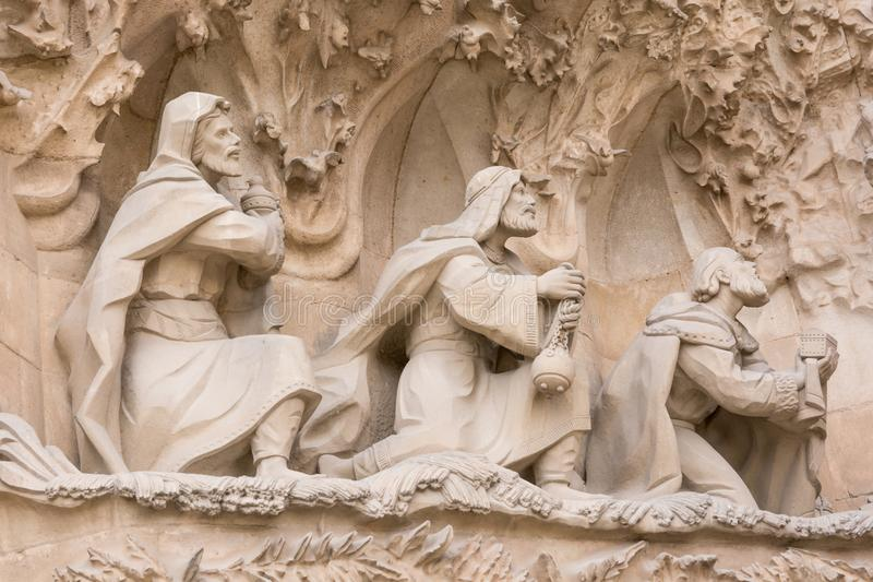 BARCELONA, SPAIN - MARCH 19, 2018: cathedral statue designed by stock photos