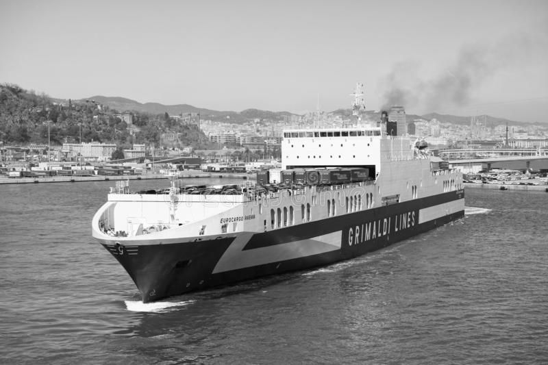 Barcelona, Spain - March 30, 2016: ferry ship Grimaldi Lines in sea. Ferry trip. Travelling by sea on ferry ship. Water. Transport of ferry ship. Summer stock photos