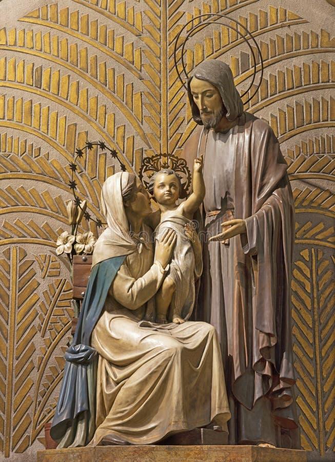BARCELONA, SPAIN - MARCH 5, 2020: The modern fresco of Crucifixion in the atrium of church Església de la Concepció royalty free stock photo