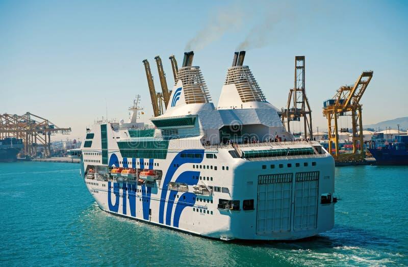 Barcelona, Spain - March 30, 2016: passenger ship GNV Rhapsody Genova in sea port. Cruise destination trip on ship stock photos