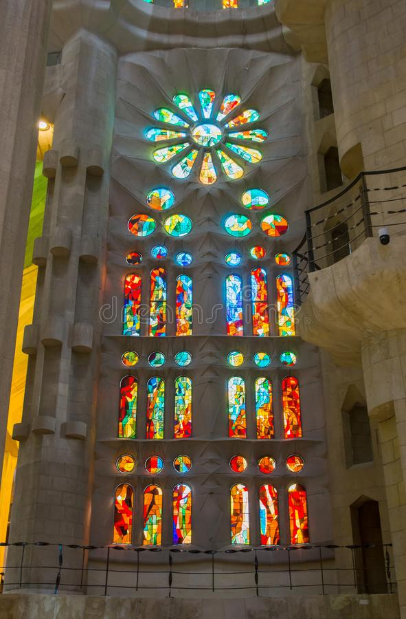 BARCELONA, SPAIN - MARCH 19, 2018: Sained glass windows in the B stock photos