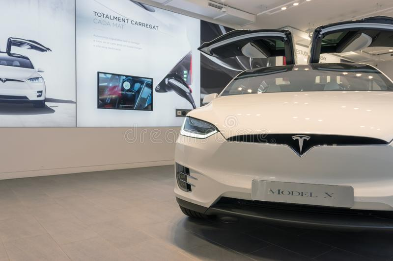 Barcelona, Spain -March 14, 2019: Tesla cars store near Passeig de Gracia luxury shopping street with Tesla electric car model X stock photo