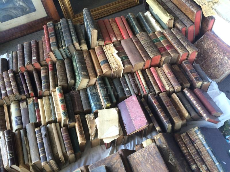 Barcelona, Spain, March 2016:trade of antique and old books merchandise on local flea market stock photo