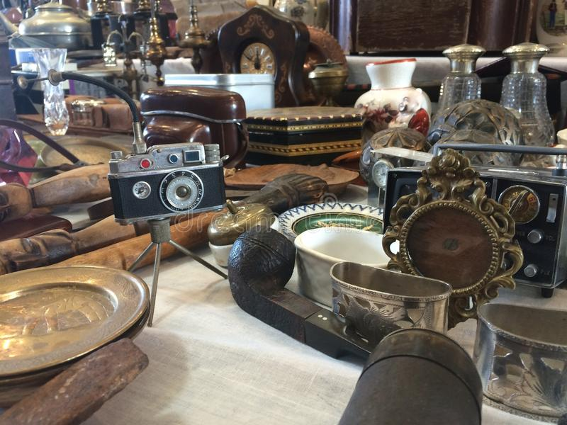 Barcelona, Spain, March 2016:trade of antique and old merchandise on local flea market royalty free stock images