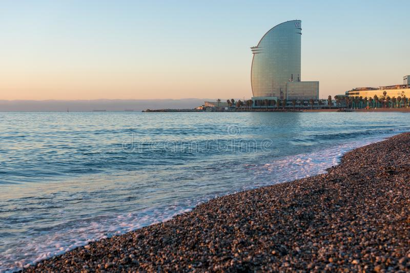 Barcelona, Spain -March 17, 2019: View of Barceloneta Beach and W Hotel in Barcelona, Spain royalty free stock images
