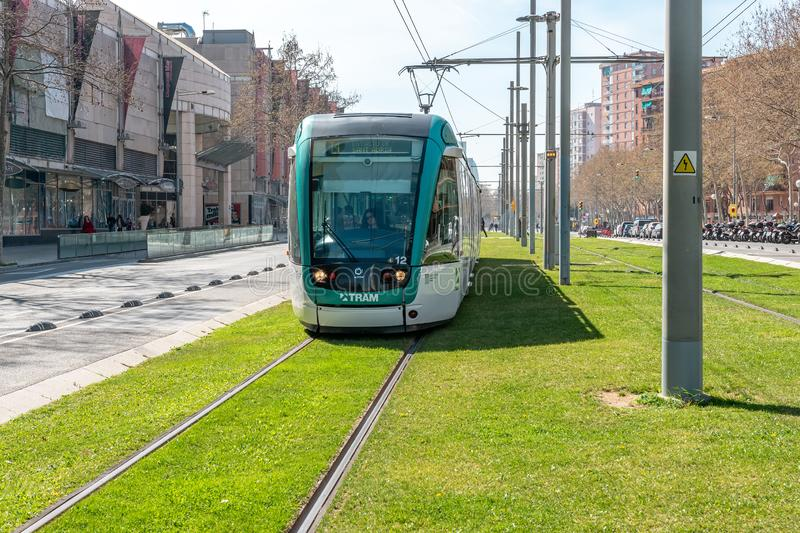 BARCELONA, SPAIN - March 16, 2019: View of modern tram in city Barcelona royalty free stock images