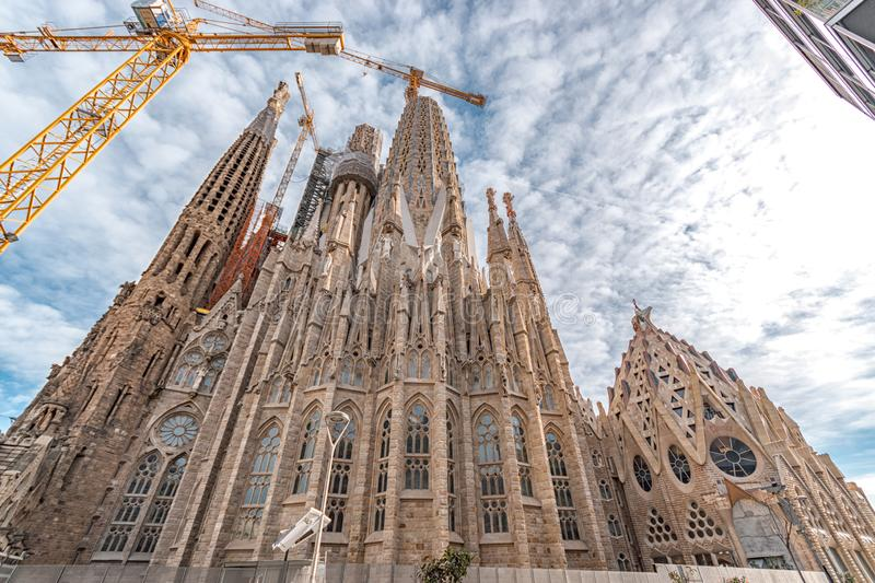 Barcelona, Spain -March 14, 2019: View of the Sagrada Familia, a large Roman Catholic church in Barcelona, Spain. Designed by royalty free stock photography