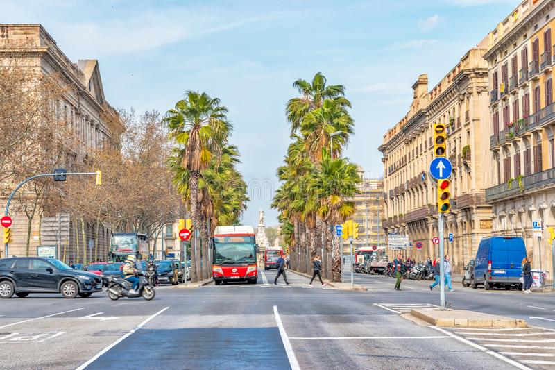 BARCELONA, Spain - March 12: View of the street in Barcelona city royalty free stock photo