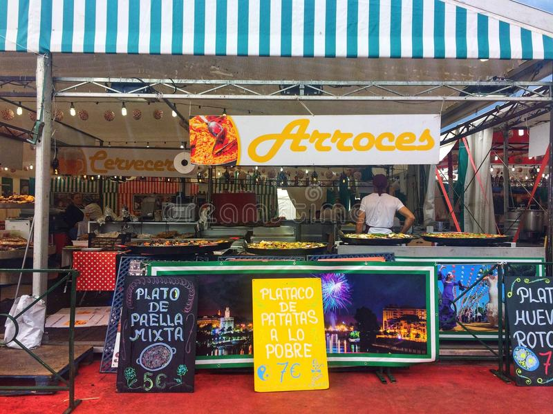 Barcelona, Spain, May 2018: Тrade tray with andalusian food on gastronomic festival. Barcelona, Spain, May 2018: Тrade tray with various andalusian food stock photography