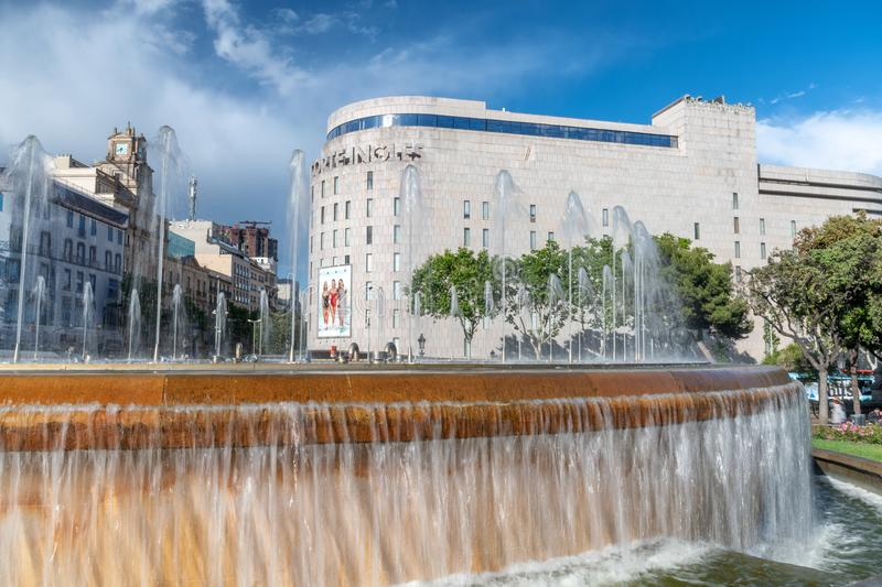 BARCELONA, SPAIN - MAY 13, 2018: Catalunya Square and fountain o royalty free stock image