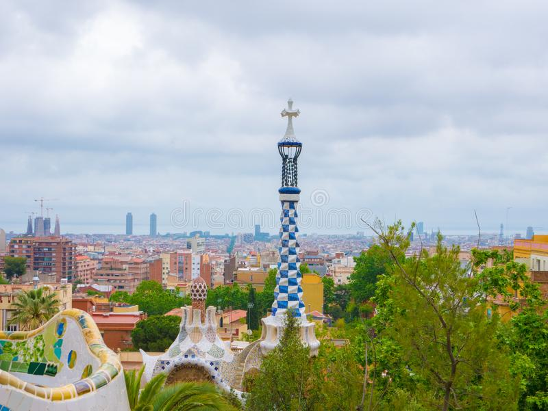 Barcelona, Spain. May 2019. Colorful architecture by Antonio Gaudi. Parc Guell is the most important park in Barcelona. Spain stock images