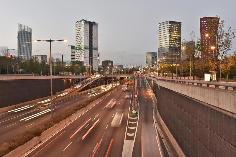 Modern skyscrapers and speedway Barcelona Spain stock image