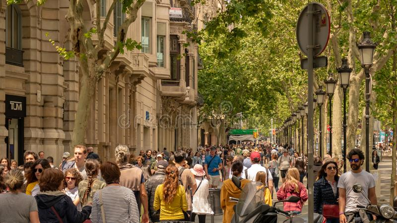 Barcelona, Spain. May 10, 2019. Hundreds of tourists from all over the world visit the streets of Barcelona in a spring afternoon. stock image