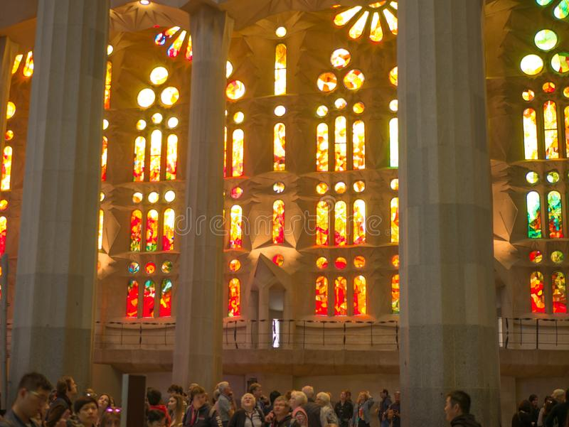 Barcelona, Spain. May 2019. The interior of La Sagrada Familia. Designed by Gaudi, the cathedral is being build since 19 March stock photo