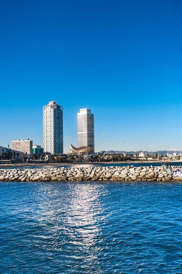 BARCELONA, SPAIN - MAY 2017: La Barceloneta Beach at beautiful stock image