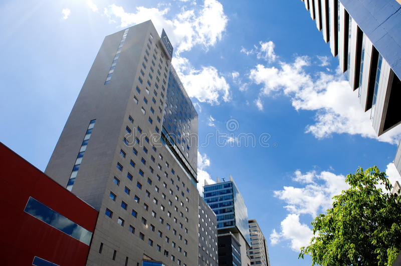 BARCELONA, SPAIN, MAY 15, 2016 - modern buildings in Poblenou district stock photography