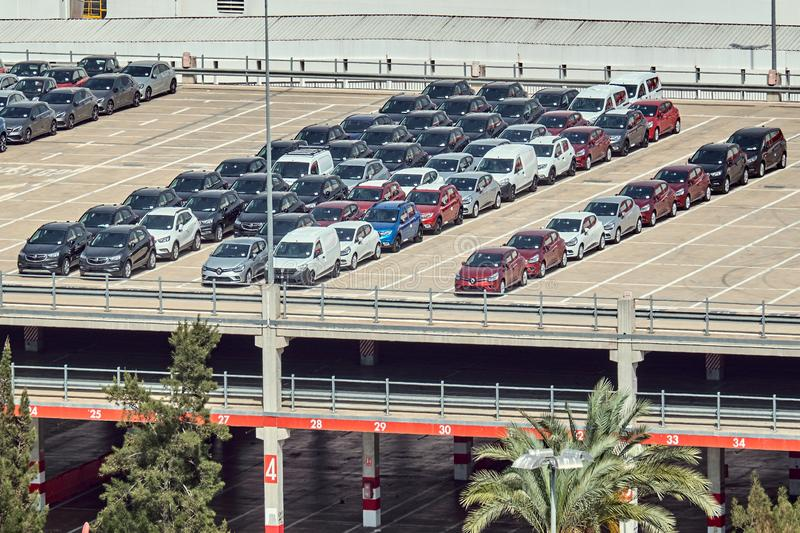 Barcelona, Spain - May, 27 2018: Reno cars parked at the Port of Barcelona royalty free stock image