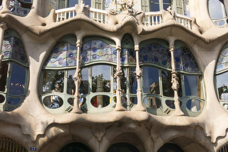 Tourists inside the Casa Batllo, designed by Gaudi. Barcelona, S stock photography