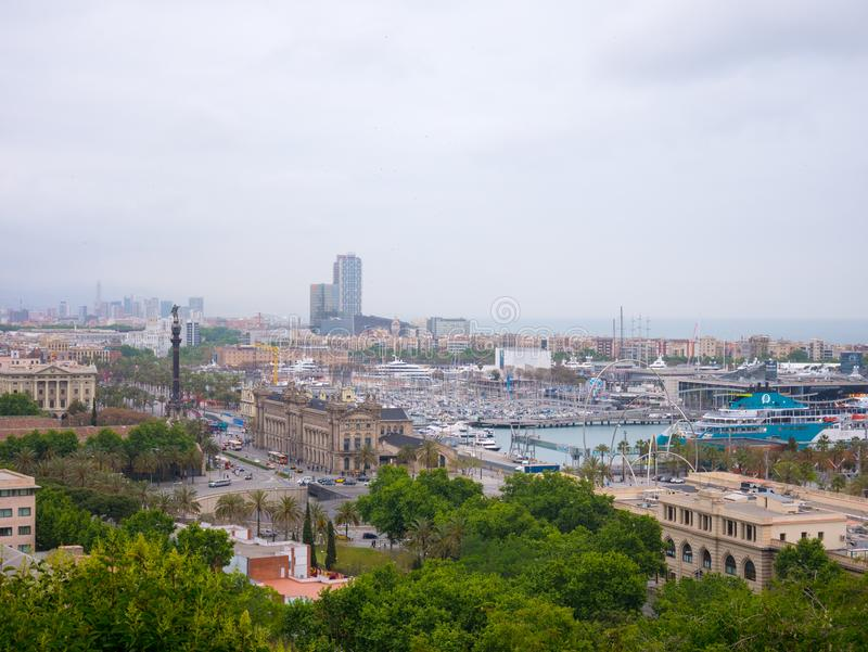 Barcelona, Spain. May 2019. view of Barcelona city with Port Vell from Montjuic hill in cloudy day. Catalonia stock image