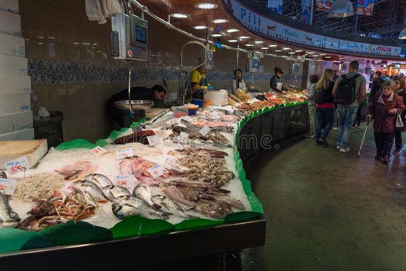 Fresh fish and seaffod stall, la Boqueria market in Barcelona royalty free stock images
