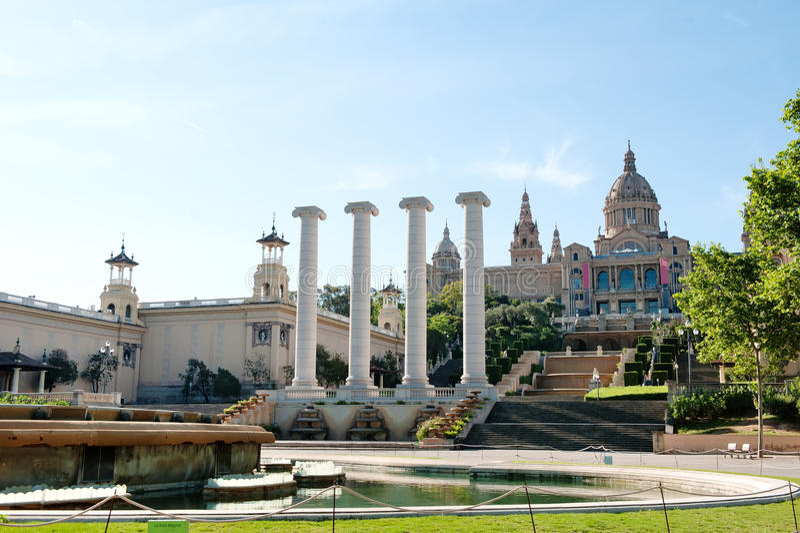 Barcelona, Spain - National art museum in Plaza de Espana stock photos