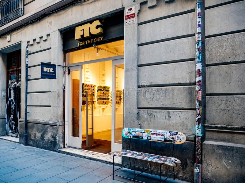Side view of FTC For The City urban wear. Barcelona, Spain - Nov 14, 2017: Side view of FTC For The City urban wear and skate sport store royalty free stock photo