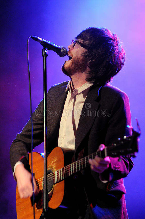 Will Sheff, singer of Okkervil River. BARCELONA, SPAIN - NOV 10: Will Sheff, singer of Okkervil River band, performs at Teatre Coliseum stage on November 10 royalty free stock image