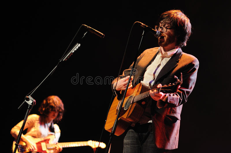 Will Sheff, singer of Okkervil River. BARCELONA, SPAIN - NOV 10: Will Sheff, singer of Okkervil River band, performs at Teatre Coliseum stage on November 10 stock images