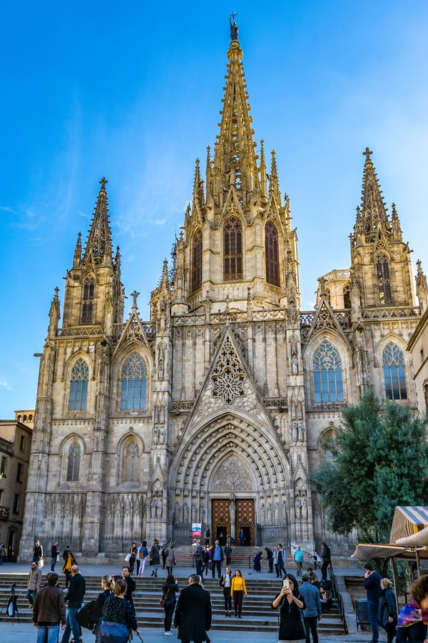 The Cathedral of the Holy Cross and Saint Eulalia, also known as Barcelona Cathedral, in Spain stock photos