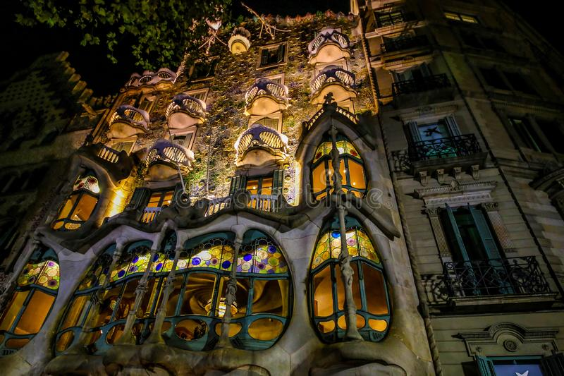 Barcelona, Spain. November 14, 2017. House Batllo, Casa Batllo at the evening from the roof low angel shoot.  royalty free stock images