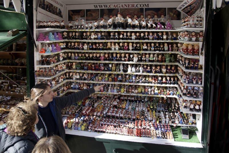 Santa Llucia Christmas market in Barcelona, Spain. BARCELONA, SPAIN - NOVEMBER 28, 2017: Stall in the Mercat de Santa Llucia, the popular Christmas market of stock images