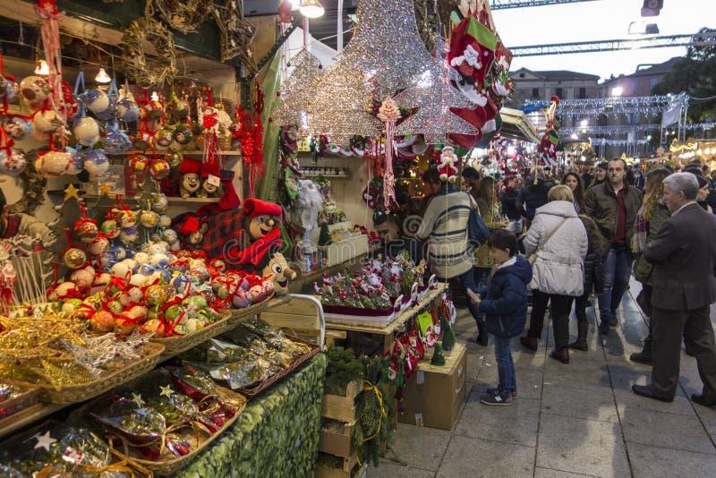 Barcelona, Spain - November 28, 2015: Stands with Christmas gifts in Barcelona, Spain. Fira de Santa Llucia - Christmas market. Barcelona, Spain - November 28 royalty free stock photos
