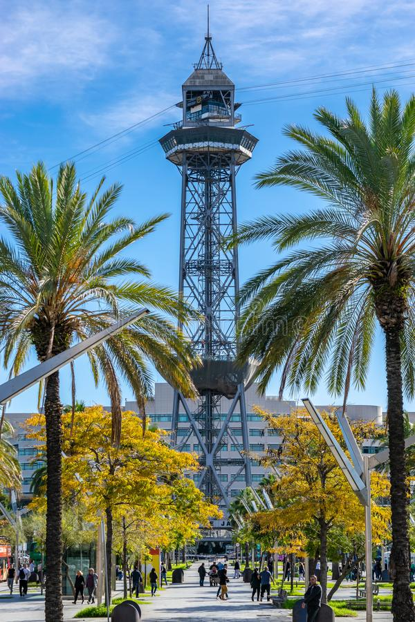 Teleferic del Port Torre de Jaume I a steel truss tower, part of the Port Vell Aerial Tramway near the Port of Barcelona stock photo