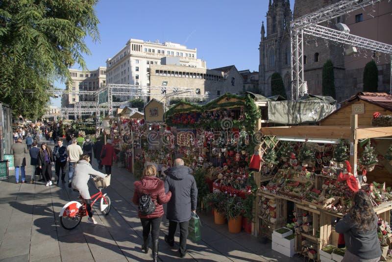 Santa Llucia Christmas market in Barcelona, Spain. BARCELONA, SPAIN - NOVEMBER 28, 2017: A view of the stalls of the Mercat de Santa Llucia, the popular royalty free stock images