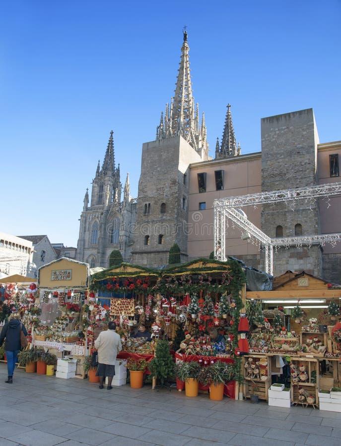 Santa Llucia Christmas market in Barcelona, Spain. BARCELONA, SPAIN - NOVEMBER 28, 2017: A view of the stalls of the Mercat de Santa Llucia, the popular royalty free stock photo