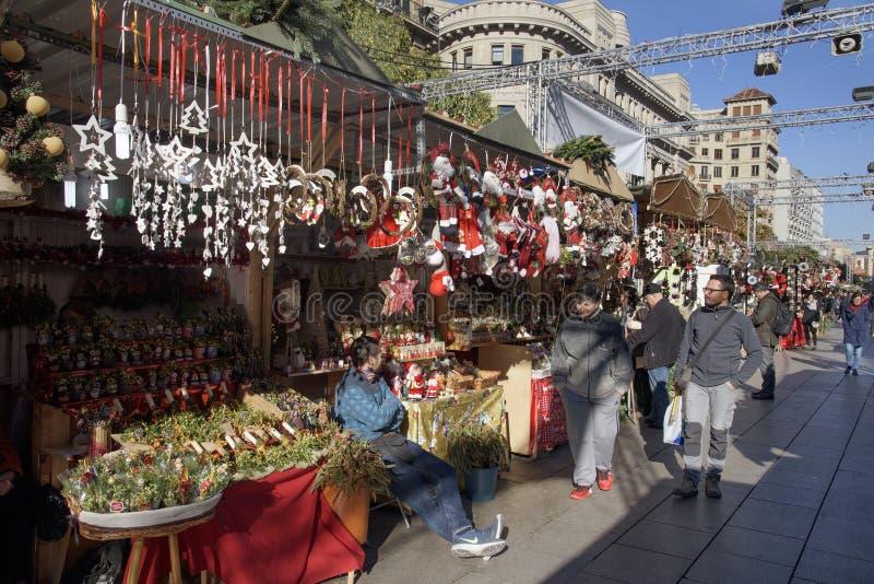 Santa Llucia Christmas market in Barcelona, Spain. BARCELONA, SPAIN - NOVEMBER 28, 2017: A view of the stalls of the Mercat de Santa Llucia, the popular stock photography