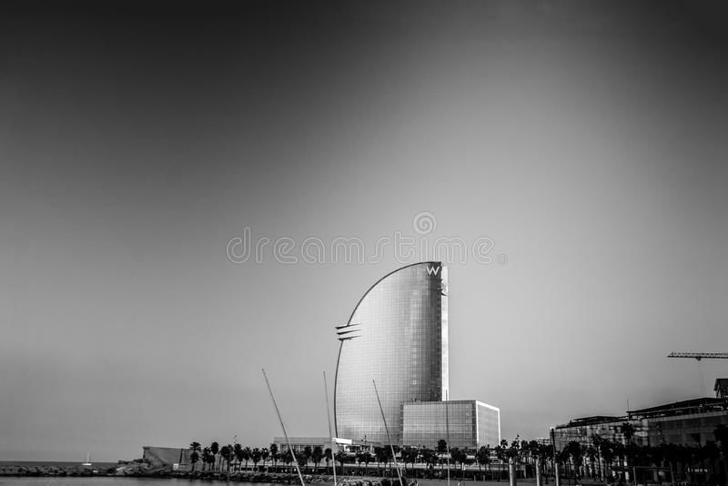 W Barcelona Hotel, also known as the Hotel Vela. BARCELONA, SPAIN - NOVEMBER 10, 2015: W Barcelona Hotel, also known as the Hotel Vela Sail Hotel on November 10 royalty free stock photos