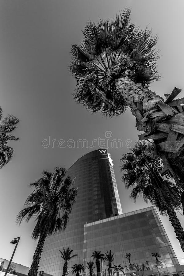 W Barcelona Hotel, also known as the Hotel Vela. BARCELONA, SPAIN - NOVEMBER 10, 2015: W Barcelona Hotel, also known as the Hotel Vela Sail Hotel on November 10 royalty free stock photography