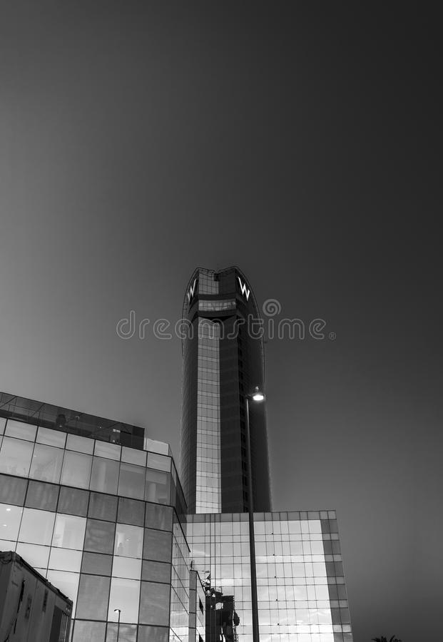 W Barcelona Hotel, also known as the Hotel Vela. BARCELONA, SPAIN - NOVEMBER 10, 2015: W Barcelona Hotel, also known as the Hotel Vela Sail Hotel on November 10 stock photo