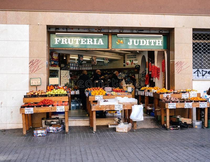 Exterior of fruit shop on street Barcelona stock photo