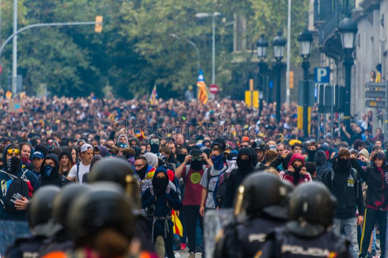 Barcelona, Catalonia/Spain; October 18 2019: violent protest against the police royalty free stock photos