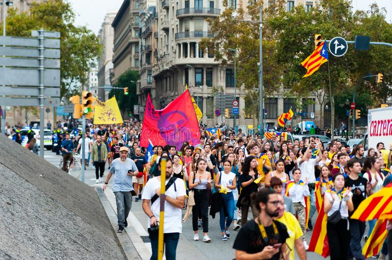 Barcelona, Spain - 14 october 2019: crowd of independentists protest in laietana streets against the prison sentencing of catalan stock photos