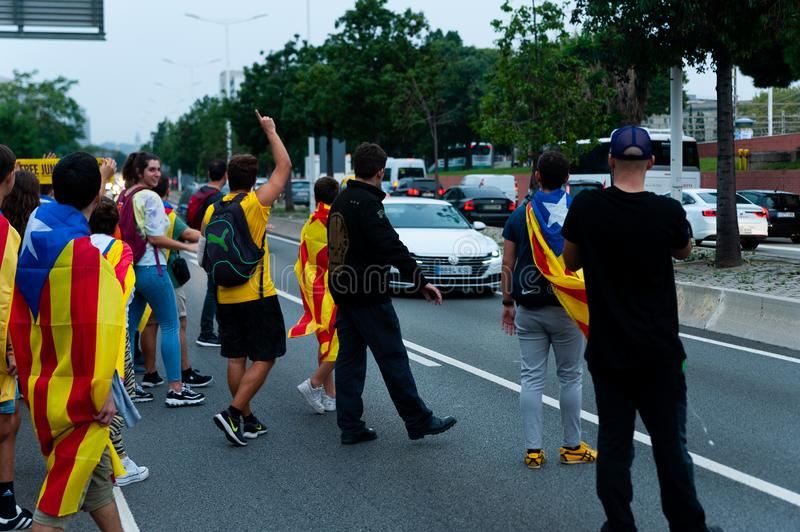 Barcelona, Spain - 14 october 2019: independentists block ronda litoral highway in protest against the prison sentence of catalan royalty free stock photos