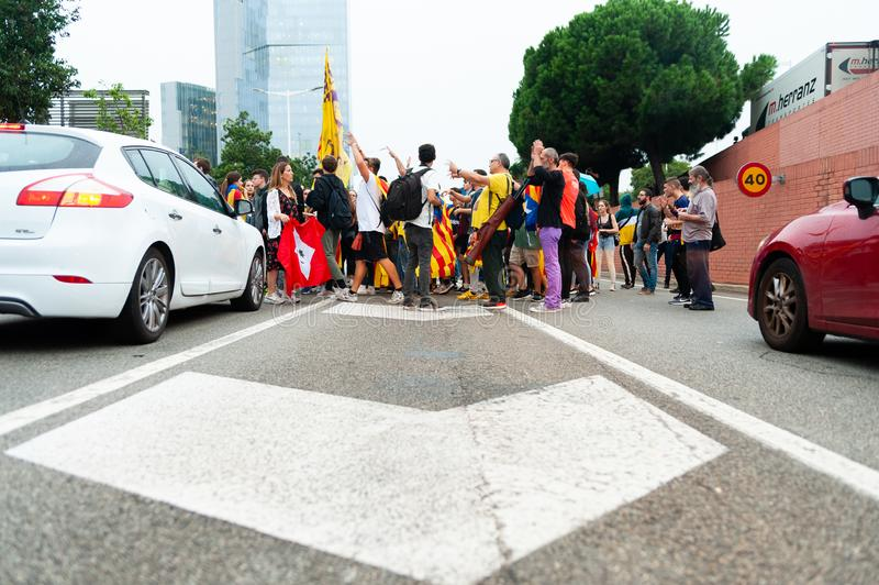 Barcelona, Spain - 14 october 2019: independentists block ronda litoral highway in protest against the prison sentence of catalan stock image